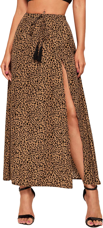 SheIn Women's Casual Boho Print Fringe Tie Front Split Summer Maxi Skirt