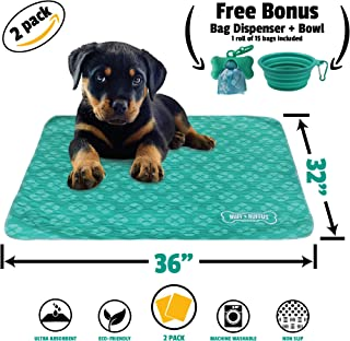 """Ruff n Ruffus Reusable and Washable Puppy Pee Pads for Dogs (Set of 2) 