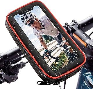 自転車スマホホルダー バイクスタンド 自転車用ホルダー バイク ホルダー 防水機能UP【アップグレード版】耐震 360度回転 強力固定 防塵 落下防止 多機種 6.5インチまでのスマホに対応 (レッド)