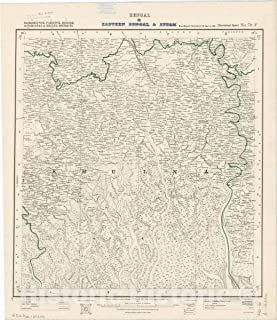 Historic Pictoric Map : Backergunge, Faridpur, Jessore, 24-Parganas & Khulna Districts, Bengal & Eastern Bengal & Assam, No. 79 F 1911, India 1:253,440, Antique Vintage Reproduction : 44in x 51in