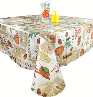 Elegant Autumn Harvest Collage Flannel Backed Vinyl Tablecloth: Fun Fall Thanksgiving Designs of Colorful Leaves, Apples, ...