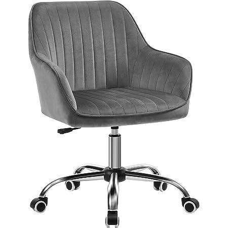 SONGMICS Chaise de bureau avec surface en tissu velours, Fauteuil pivotant, Siège ergonomique, rembourrage en mousse, hauteur réglable, Gris Clair OBG012G01