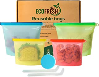 EcoFresh Silicone Food Storage Bag - (Set of 4) 2 Med and 2 Large Reusable Ziploc Bags - Airtight Storage Bags for Lunch, Fruits, and Liquid - Zero Waste Reusable Snack Bag for Freezer and Microwave