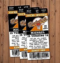Basketball Birthday Party Ticket Invitations