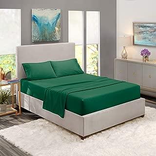 "Nestl Bedding Soft Sheets Set – 4 Piece Bed Sheet Set, 3-Line Design Pillowcases – Easy Care, Wrinkle – 10""–16"" Deep Pocket Fitted Sheets – Warranty Included – Flex-Top King, Hunter Green"