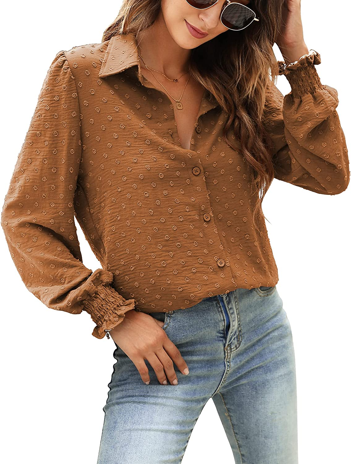 Womens Super popular Japan's largest assortment specialty store Casual Chiffon Blouses Puff Long Swiss Sleeve Tops Bu Dot