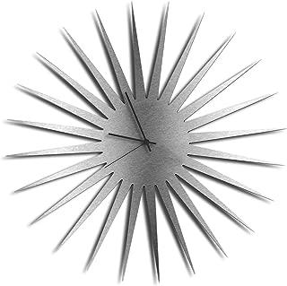 Silver Decor 'MCM Starburst Silver Clock'   Brushed Metal Kitchen Wall Clocks, Silent Non-Ticking Movement (Black Hands)