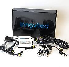 "Innovited 55W AC Xenon HID Lights""All Bulb Sizes and Colors"" with Digital Slim Ballast - H4-3 9003-8000K Bi xenon HI/LO - Ice Blue - 2 Year Warranty"