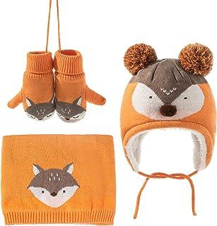 Borlai 3 szt. chłopięca dziewczęca zimowa czapka rękawiczki szalik zestaw dziecko maluch ciepły lis dzianina polarowa czap...