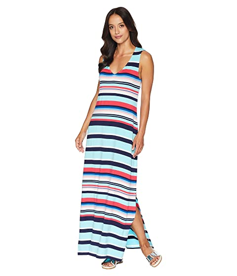 Sporting Stripe Maxi Dress Cover-Up, Swimming Pool Blue