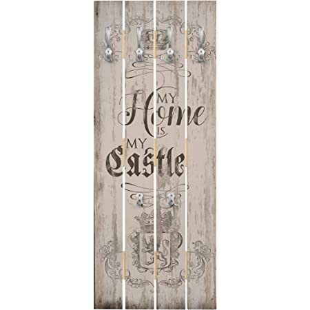 bilderwelten my home is my castle wall mounted coat rack with wooden panel 100 x 40 cm chrome