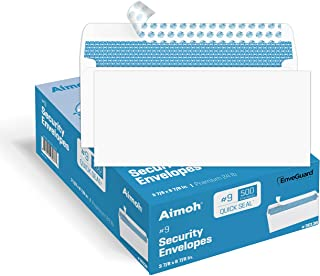 500 #9 Security Self-Seal Envelopes, Premium Security Tint Pattern, Ultra Strong Quick-Seal Closure - No Window, EnveGuar...