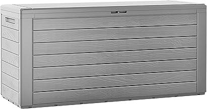 """Coffre de rangement """"Woody"""" en plastique gris 120x46x57 cm 300 L malle de stockage pour jardin couvercle pliable dispositi..."""