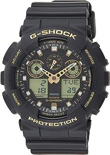 ساعة جي شوك بعرض انالوج-رقمي ومينا اسود وسوار راتنج للرجال من كاسيو - طراز Ga-100Gbx-1A9Dr