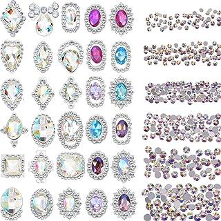 Bememo 2000 Pieces 3D Crystal AB Color Flat Back Rhinestones Nail Art DIY Crafts Gemstones with 30 Nail Art Metal Gem Ston...