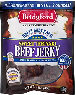 Bridgford Sweet Baby Ray's Sweet Teriyaki Beef Jerky, High Protein, Zero Trans Fat, Made With 100% American Beef, 3 Oz, Pack of 3