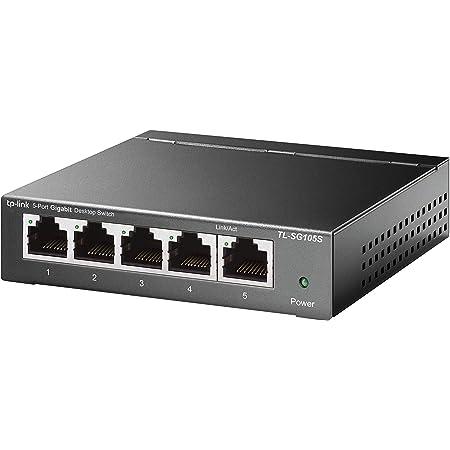 TP-Link TL-SG105S, 5 Port Gigabit Ethernet Network Switch, Ethernet Splitter, Hub, Desktop and Wall-Mounting, Sturdy Metal, Fanless, Plug and Play, Energy-Saving