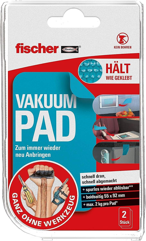 fischer Vakuum Pad, 20x doppelseitig, 20x200mm, extra Stark,  wiederverwendbar, Kein Kleben, Kein Bohren, Kein Werkzeug, ganz ohne  Werkzeug   5463205, ...