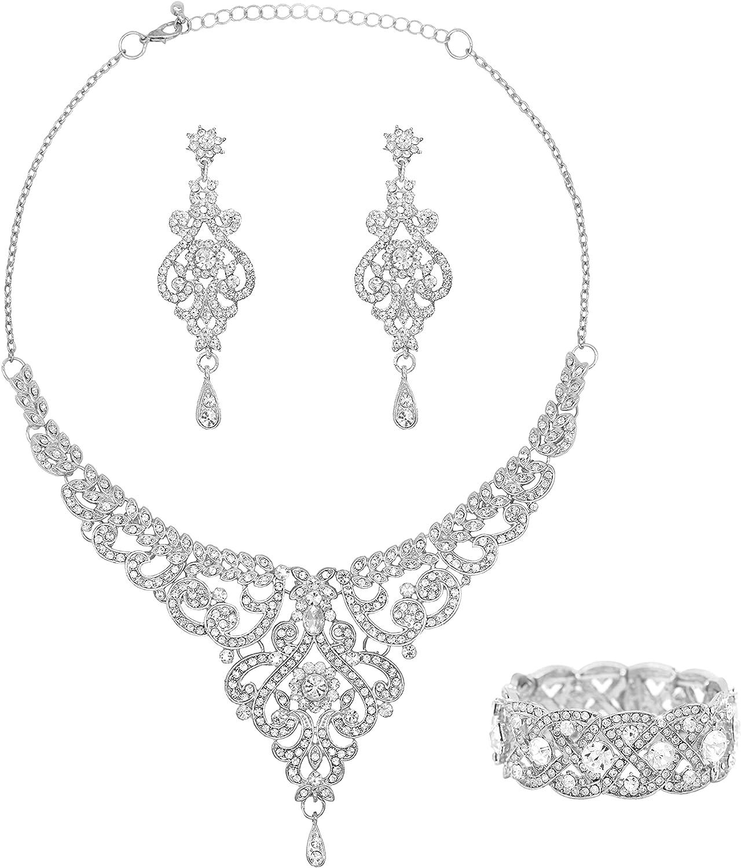Oriamour Wedding Jewelry Set Bridal Necklace Rhinestone Earrings Bracelets