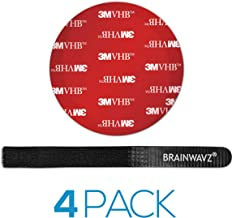 Brainwavz 4 PCS VHB Tape Round 75mm Adhesive Pads for Google Home Mini, Echo Dot, Apple TV, GPS, Car Mounts & More, Strong Double Sided Sticker + Cable Ties (3M VHB 4991 Round)