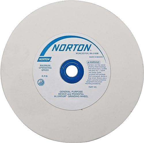 "high quality NORTON 07660788263 (38A) wholesale Premium Alundum Type 01 Bench and Pedestal Grinding outlet sale Wheel, Very Fine Grit, White Aluminum Oxide Abrasive, 1"" Arbor Hole, 6"" Diameter x 1"" Thick outlet sale"