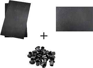 BiMordiscos Pack para Fundas de kydex: Lámina de kydex Negro de 1,8 mm, 20 ojetes/Remaches de teflón elástico de 6 mm y 2 láminas de Material Moldeador (Goma EVA)