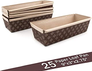 Paper Loaf Pan, Disposable Paper Baking Loft Mold 25ct, All Natural FDA Approved, Recyclable, Microwave Oven Freezer Safe, Providing Beautiful Display for Baked Goods (Loft Pan 9