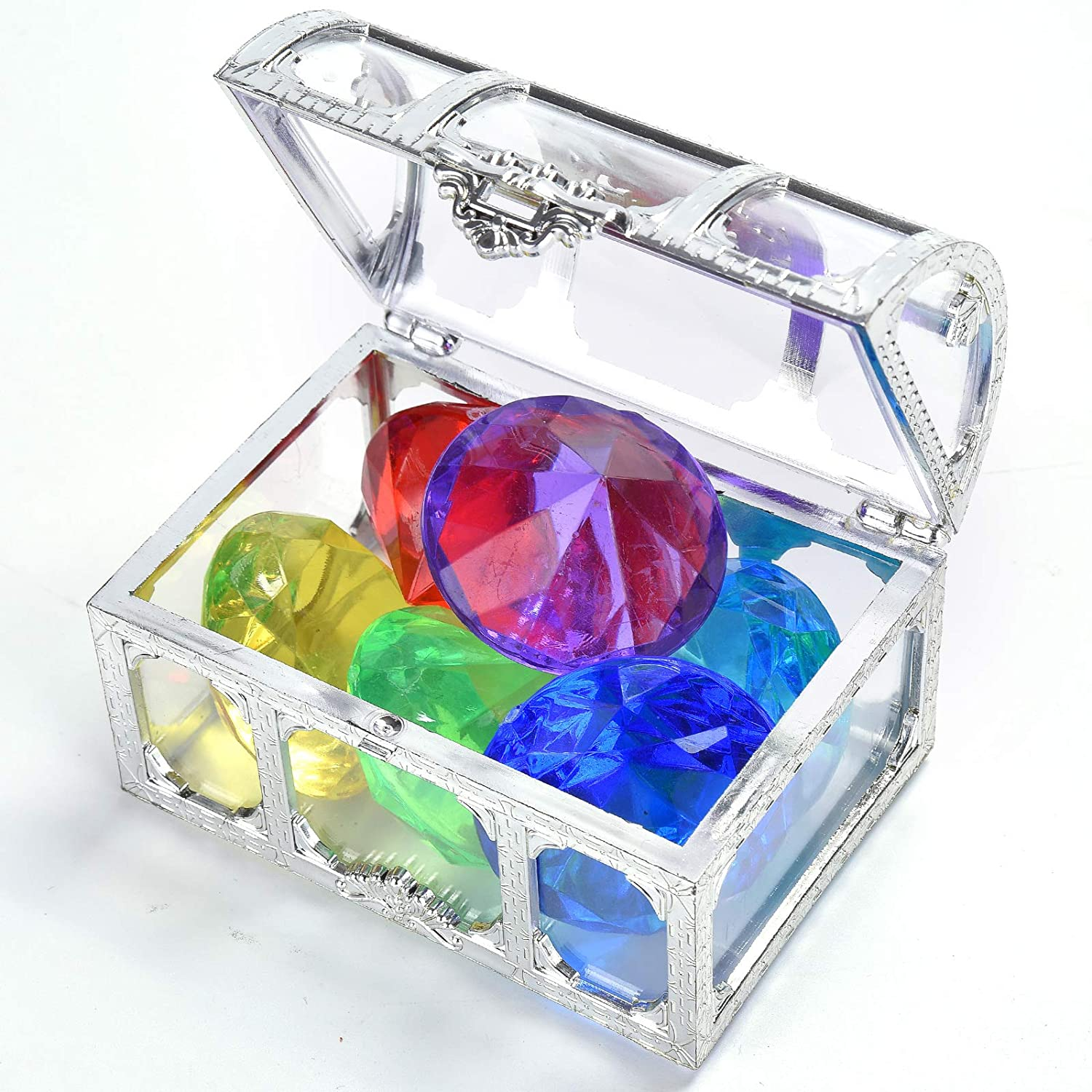 silver white Diving Gem Pool Toy 6 Big Colorful Diamonds Set with Treasure Pirate Box Summer Swimming Gem Diving Toys Set Dive Throw Toy Set Underwater Swimming Toy for Pool Use Treasures Gift Sets