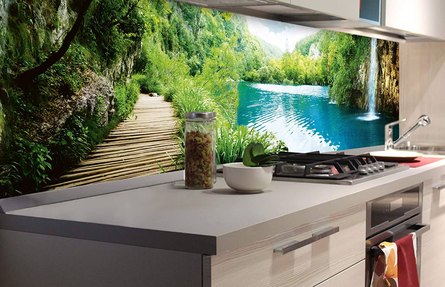 Dimex Line Self Adhesive Film For Kitchen Back Wall Relaxation In The Forest 180 X 60 Cm Adhesive Film Decorative Film Splash Guard For Kitchen Premium Quality Amazon De Diy Tools
