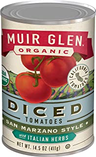 Muir Glen Canned Tomatoes, Organic Diced Tomatoes with Italian Herbs, San Marzano Tomatoes, No Sugar Added, 14.5 Ounce Can (Pack of 12)