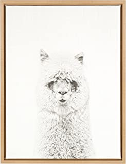 Kate and Laurel Sylvie Hairy Alpaca Black and White Portrait Natural Framed Canvas Wall Art by Simon Te Tai