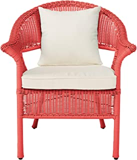 BrylaneHome Roma All-Weather Wicker Stacking Chair - Coral