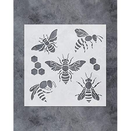 9 Pieces Bee Stencils Honeycomb Stencils Reusable Art Painting Template for Paint Craft Wall DIY Fabric Floor Home Decor Wood Signs
