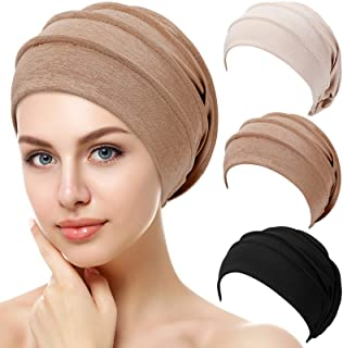 3 قطع قبعات صغيرة مترهلة من Syhood قبعة نوم ناعمة قابلة للتمدد قبعة نوم مرنة لتغطية الشعر للنساء، أسود بني بيج