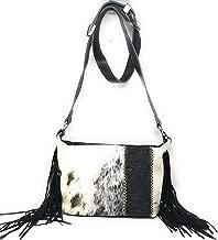 Premium Genuine Leather Concealed Carry Cowhide Fringe women's handbags purses in Black