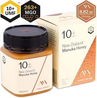 Three Peaks Manuka Honey New Zealand - Certified UMF 10+ - 8.82 oz (250gm) - 100% Natural honey, Raw honey – Ultra Premium, Healing Manuka honey