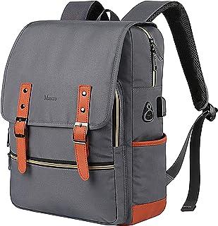 Vintage Laptop Backpack,Waterproof School College Backpack for Women Men with USB Charging Port,Mancro Lightweight Travel Bag Fits 15.6 Inch Notebook (Grey)