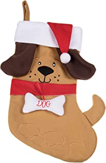 Puppy Dog Soft Plush Cloth Hanging Christmas Stocking | For Kids, Teens, Adults | Tan and Brown Holiday Decor Theme | Perfect for Small Gifts, Stocking Stuffers, & Candy | Measures 17