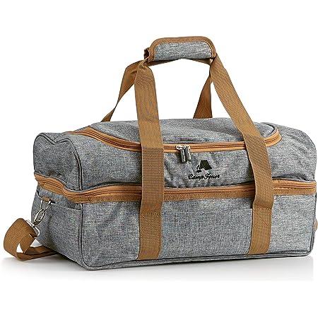 CampFeuer Picknicktasche für 4 Personen | Picknickset 20-teilig | grau | mit Seitenfächern, Geschirr und Besteck