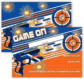 POP parties Dart Gun Party Invitations - 12 Invitations + 12 Envelopes - Dart War Party Invitations - Dart War Party Decorations