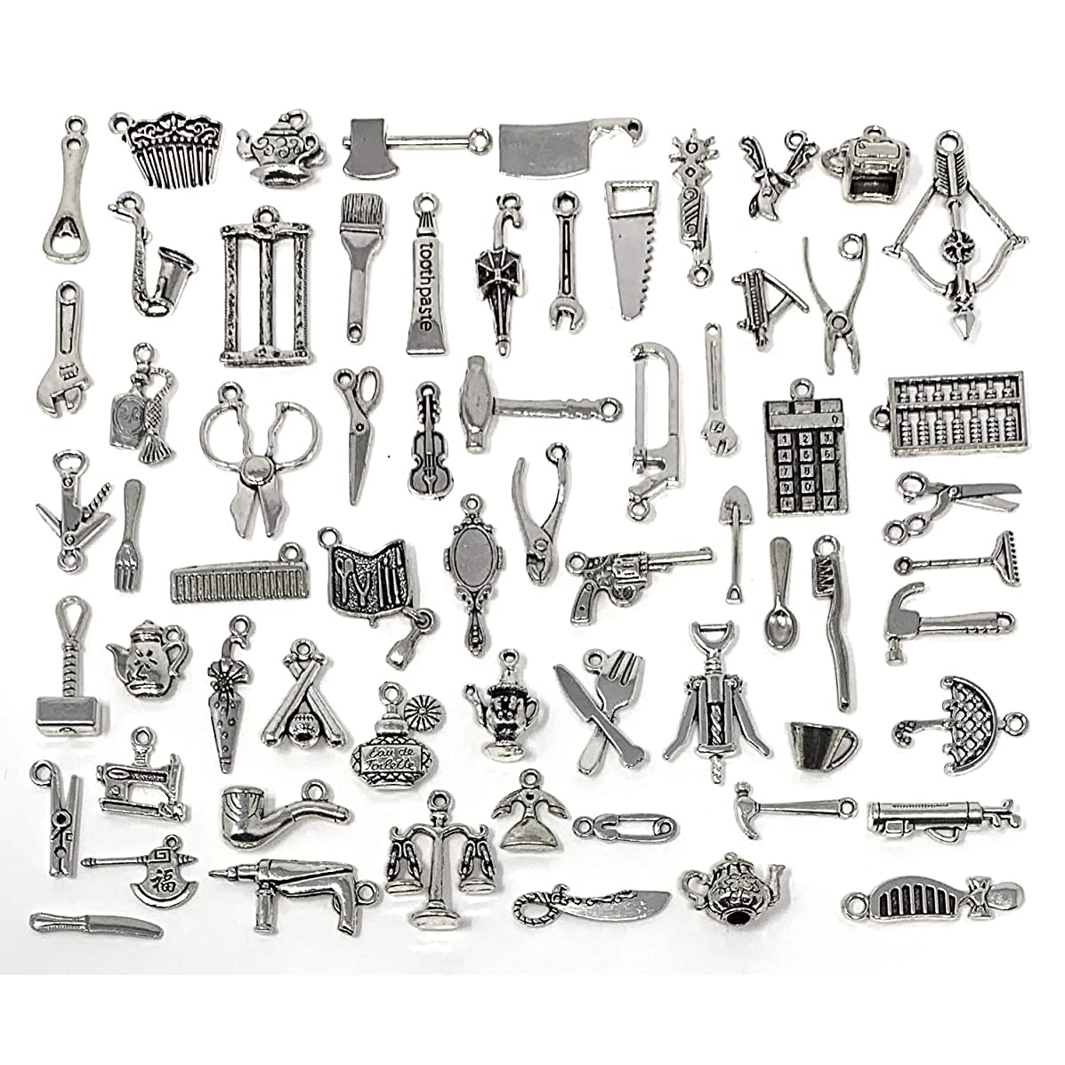 65PCS Home Tool Charms Collection, JIALEEY Wholesale Bulk Lots Antique Silver Tibetan Alloy Worker 3D Tools Charms Pendants DIY for Jewelry Making and Crafting