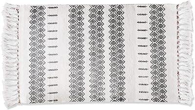 Jialisen Cotton Area Rugs Braided Black&Cream Bohemian Tassel Rugs Beige Decorative Hand Woven Throw Rug for Kitchen Laundry Doorway 2x3ft