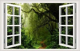 "Prabahdak Misty Forest Fake Window Wall Sticker Removable Wall Mural 3D Rainforest Road Landscape Faux Window Vinyl Wall Decor 17.3""×27.5"" Green Forest Self-Adhesive Window Wall Art Decor"