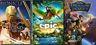 Buckling Adventure Fantasy Cartoon Movie Epic & Treasure Planet Disney + Lego Bionicle Legend Reborn DVD Animated kids fun 3 pack