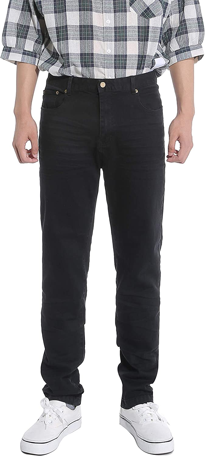 ZML Men's Regular-Fit Stretch Sales for sale Cotton Straight Overall Long Beach Mall Jeans with