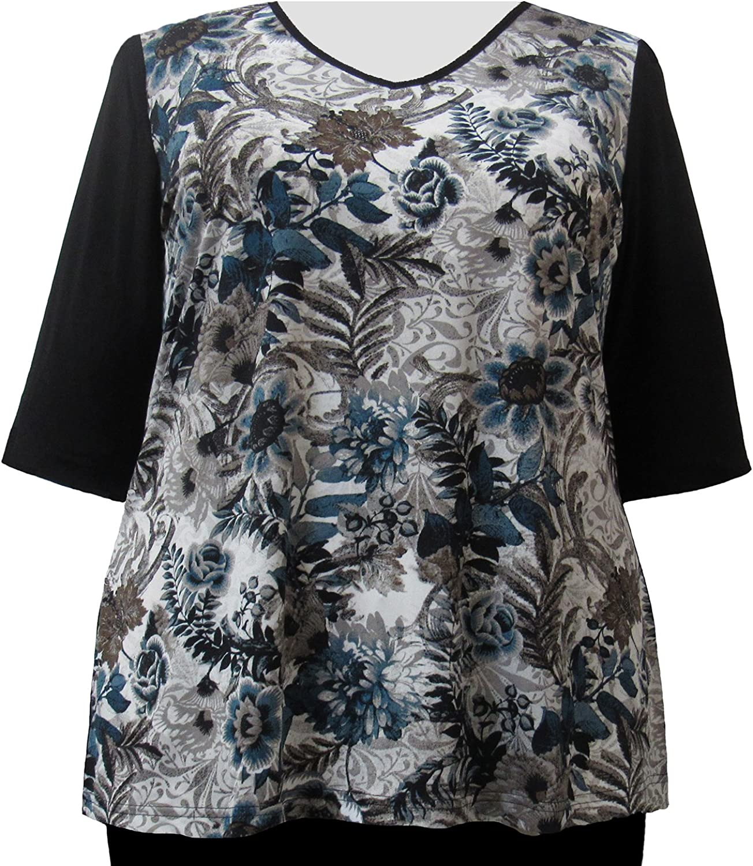 Viviana Platinum Floral 3 4 Sleeve VNeck Women's Plus Size Top