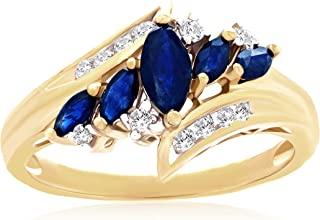 14K Yellow Gold, Marquise Cut Lab-Grown Blue Sapphire & 1/10 Cttw Lab-Grown Diamond Channel Set Bypass Engagement Ring (I-...