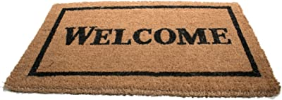 Imports Decor Printed Coir Doormat, Welcome with Black Border, 18-Inch by 30-Inch