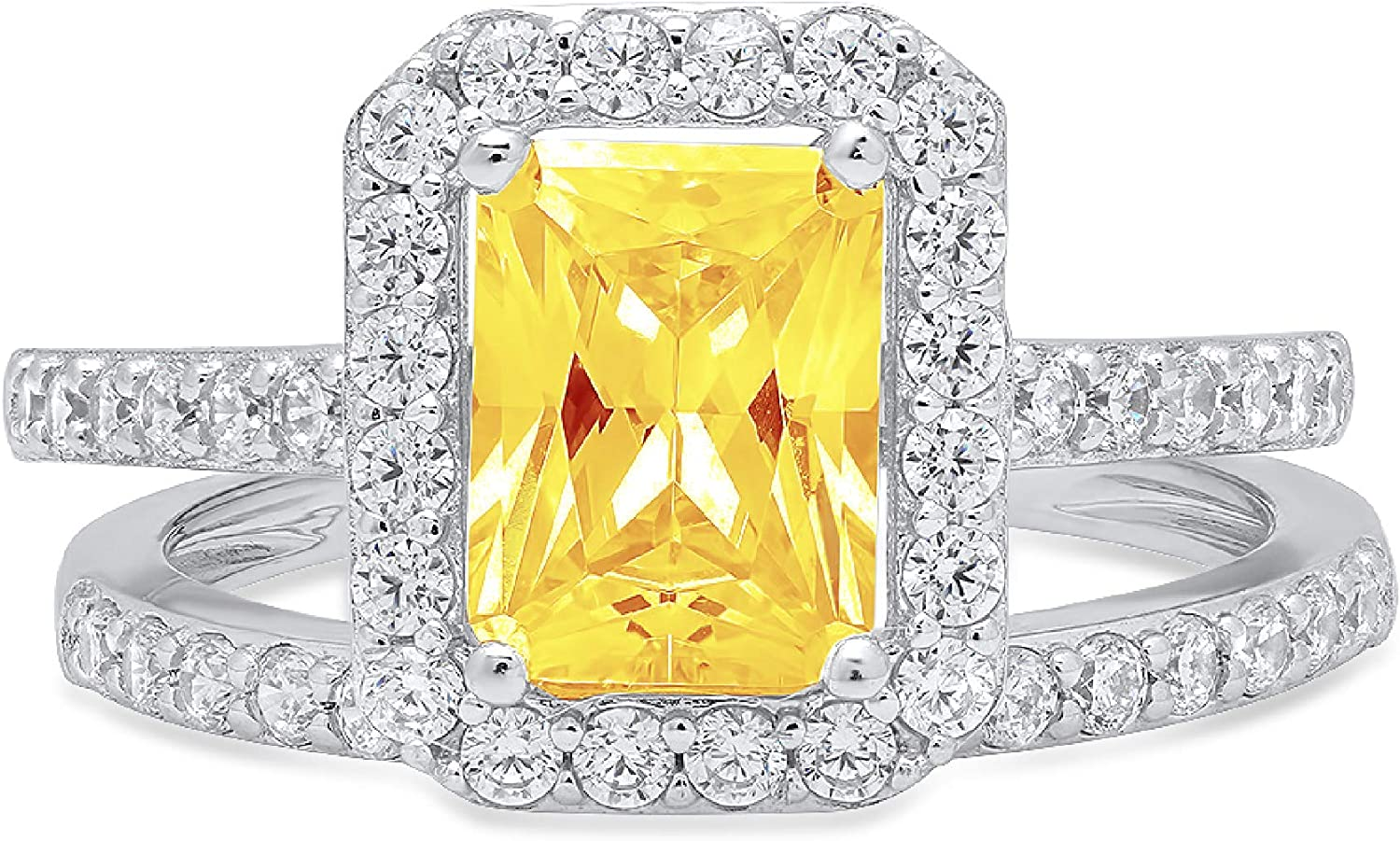 2.14ct Emerald Round Cut Pave Halo Solitaire with Accent VVS1 Ideal Natural Yellow Citrine Engagement Promise Designer Anniversary Wedding Bridal Ring band set 14k White Gold