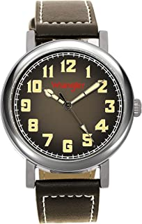 Wrangler Unisex Watch, 42mm with Natural Band & White Stitching, Oversized Crown, Water Resistant
